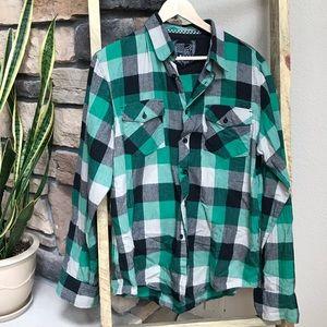 Men's Medium green/black Fox flannel
